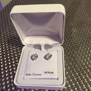 Cubic Zirconia Sterling Silver post earrings